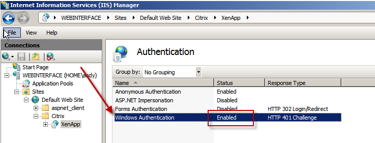 Configuring Citrix Web Interface and Pass Through